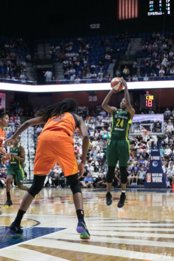 Seattle Storm guard Jewell Loyd (24) takes a jump shot.