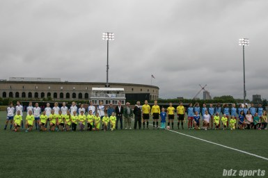 The Boston Breakers and Chicago Red Stars starting XI.