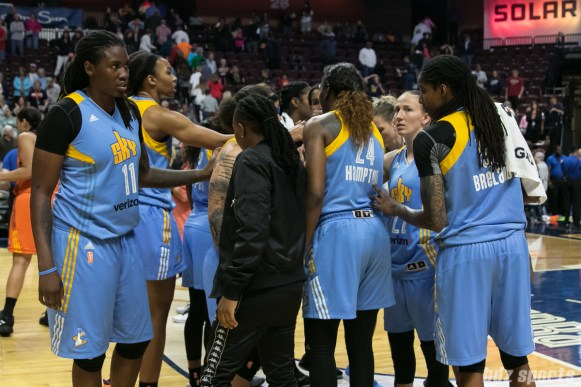 The Chicago Sky huddle after losing to the Connecticut Sun 93-72.