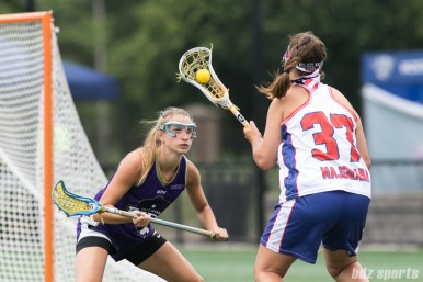 Long Island Sound attacker Halle Majorana (37) takes on Baltimore Ride Brittain Altomare (5).