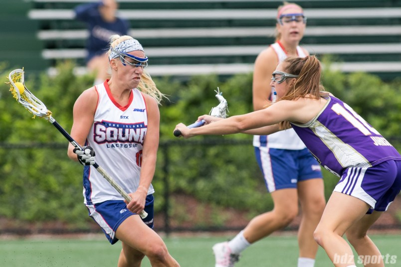 Long Island Sound attacker Courtney Fortunato (15) controls the ball.