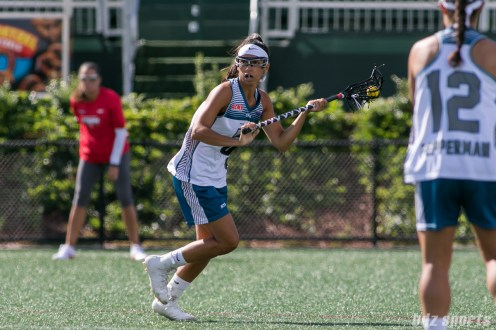 Philadelphia Force attacker Kara Mupo (8) controls the ball for the Force.