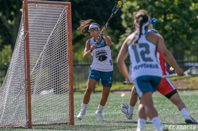 Philadelphia Force attacker Kara Mupo (8) takes a shot on goal.
