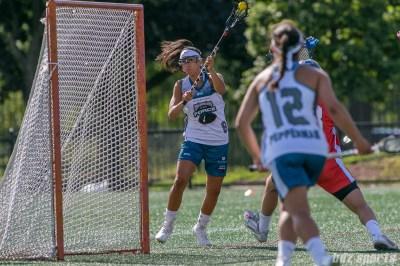 Philadelphia Force attacker Kara Mupo (8) takes a shot on goal.