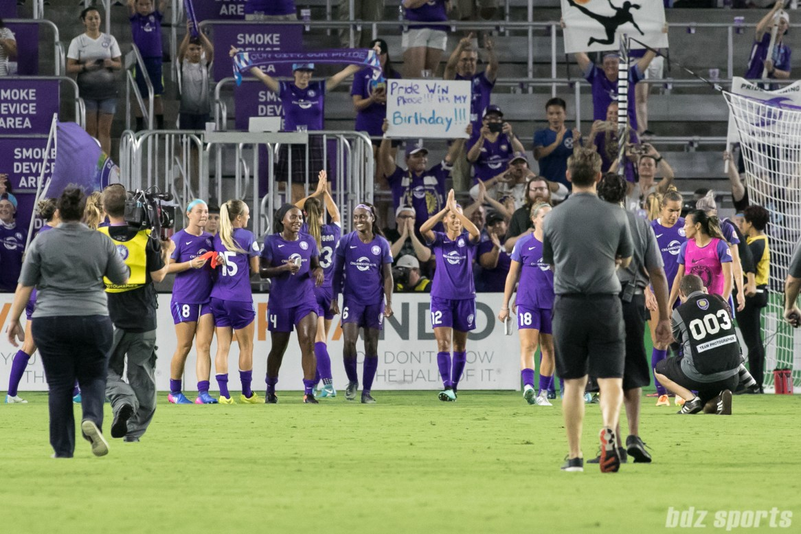 The Orlando Pride thank their supporters after a 4-1 home win over FC Kansas City.