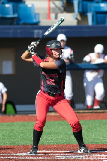 Akron Racers outfielder Nicole Schroeder (29) waits for the pitch.