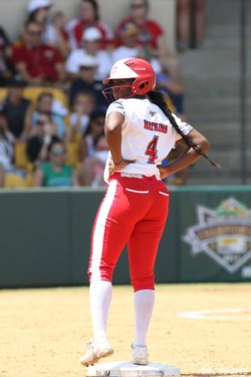 Scrap Yard Dawgs pinch runner Olivia Watkins (4) looks on from second base