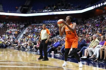 Connecticut Sun forward Morgan Tuck (33) prepares to unleash a 3-point shot