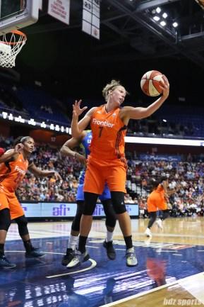 Connecticut Sun forward Kayla Pedersen (7) grabs the rebound