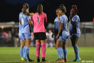 The Sky Blue FC huddle before the start of the second half