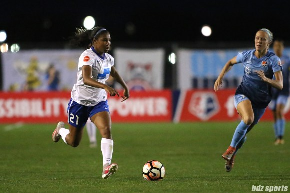 Boston Breakers forward Midge Purce (21) brings the ball down the field