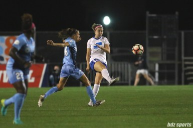 Boston Breakers midfielder Morgan Andrews (25) sends in a ball from midfield