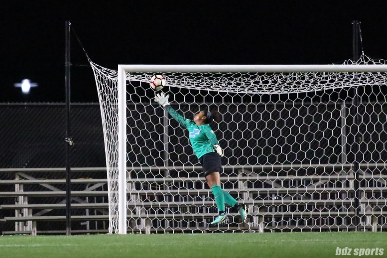 Boston Breakers goalkeeper Abby Smith (14) gets a hand on the ball to keep it out of the net
