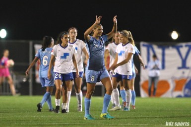 Sky Blue FC defender Erica Skroski (8) celebrates Sky Blue's 1 - 0 win over the Boston Breakers on August 26, 2017
