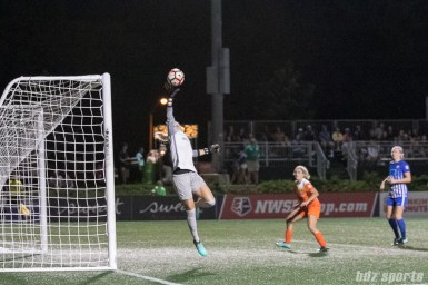 Houston Dash goalkeeper Jane Campbell (1) pushes the ball away from danger