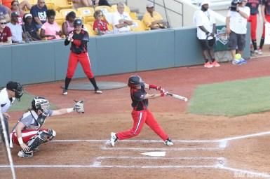 Akron Racers third baseman Kelley Montalvo (10) at bat