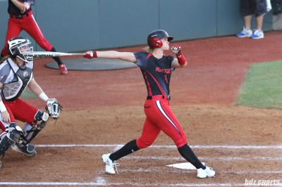 Akron Racers shortstop Sami Fagan (5) watches the ball as it goes deep into right field for a homerun