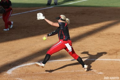 Akron Racers pitcher Megan Betsa (7)