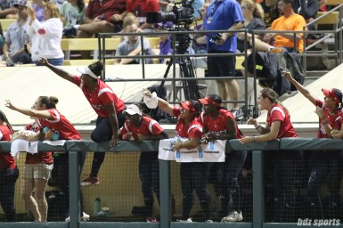 The Scrap Yard Dawgs dugout cheers after catcher Taylor Edwards (25) gets throw to second for the tag out