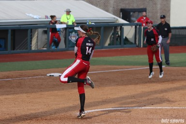 Scrap Yard Dawgs pitcher Monica Abbott (14) celebrates after throwing a strike to get the final out