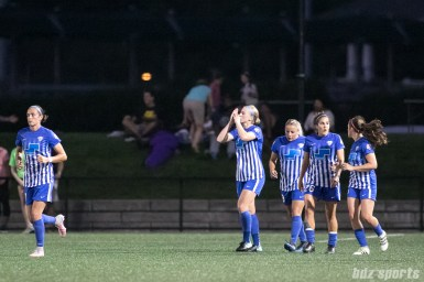 Boston Breakers forward Natasha Dowie (9) addresses the Boston fans after scoring.