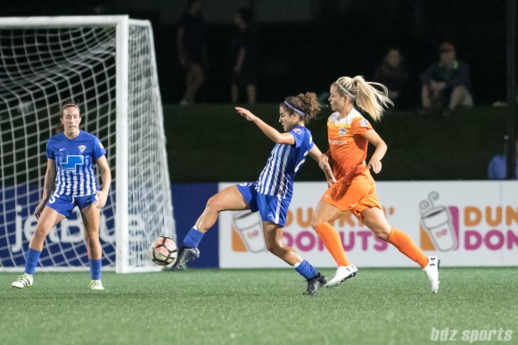 Boston Breakers midfielder Angela Salem (26) controls the ball for the Breakers