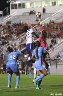 Sky Blue FC goalkeeper Kailen Sheridan (1) punches the ball away