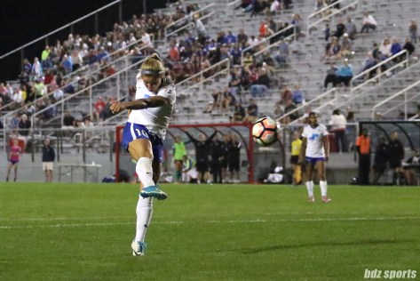 Boston Breakers midfielder Rosie White (10) rips a volley