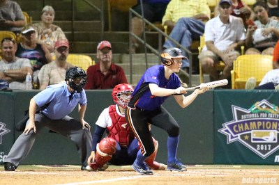 Chicago Bandits outfielder Emily Crane (3) shows the bunt