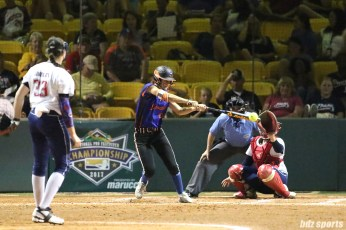 Chicago Bandits outfielder Sammy Marshall (10) makes contact with the ball