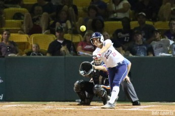 USSSA Pride infielder Andrea Duran (28) makes contact with the ball