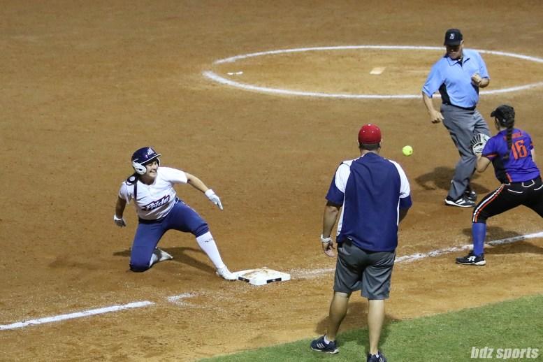 USSSA Pride infielder Lauren Chamberlain (44) gets to third base on a triple