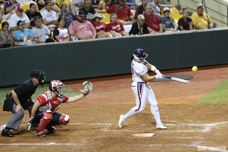 USSSA Pride infielder Lauren Chamberlain (44) makes contact with the ball