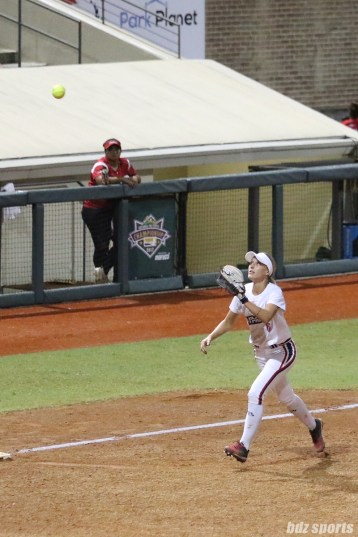 USSSA Pride third baseman Courtney Ceo (6) catches the pop out