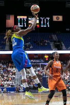Dallas Wings forward Glory Johnson (25) releases a shot.