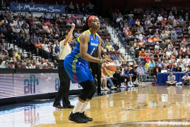 Dallas Wings forward Kayla Thornton (6) sets up to take a 3-point shot.