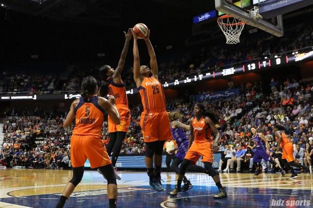 Connecticut Sun forward Alyssa Thomas (25) grabs the defensive rebound for the Sun