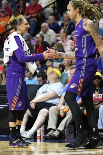 Phoenix Mercury guard Diana Taurasi (3) high fives teammate center Brittney Griner (42)