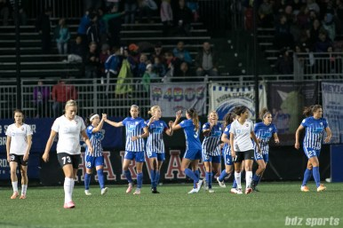 The Boston Breakers high five after forward Natasha Dowie (9) gave Boston the lead in the first half of the game