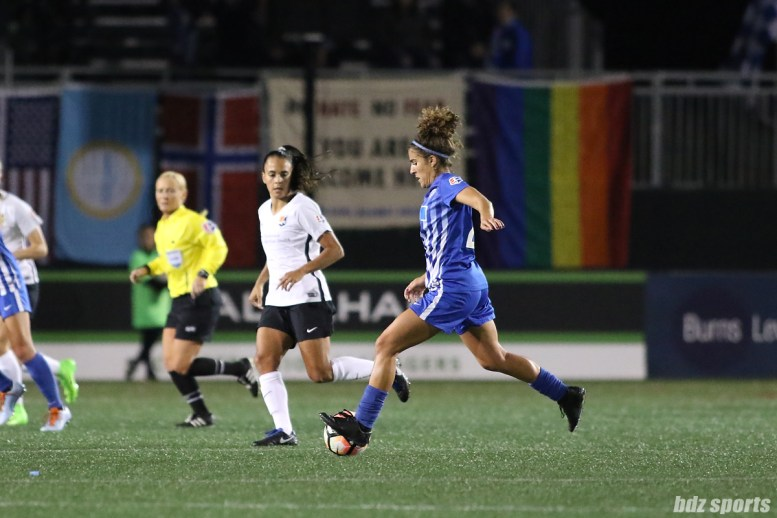 Boston Breakers midfielder Angela Salem (26) controls the ball for the Breakers in the midfield