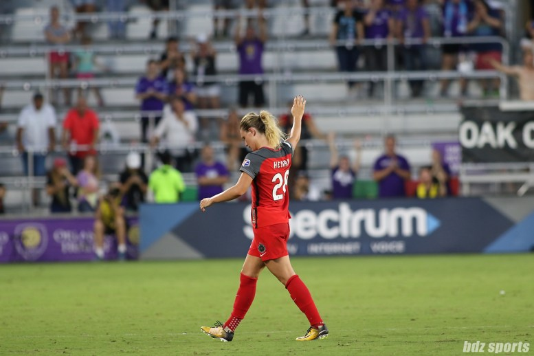 Portland Thorns FC midfielder Amandine Henry (28) waves to fans as she is subbed out