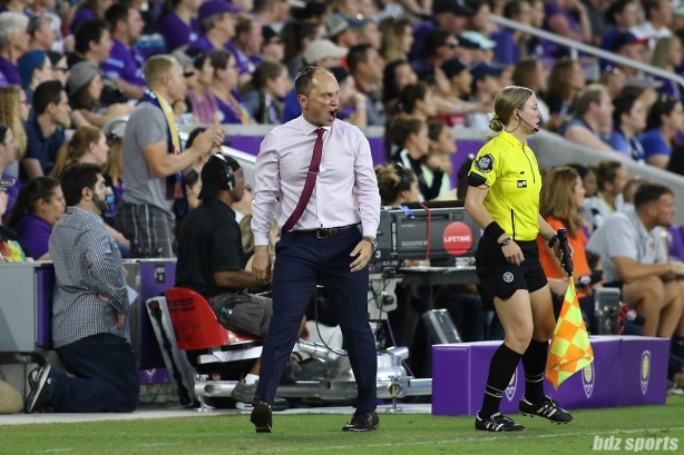 Portland Thorns FC coach Mark Parson is fired up after no yellow card is given when one of his players was fouled
