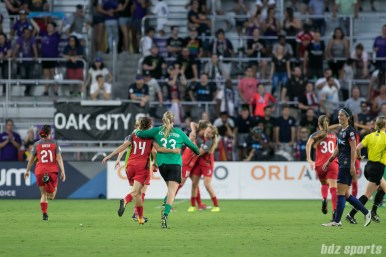 The Portland Thorns FC celebrate their 2017 NWSL Championship win