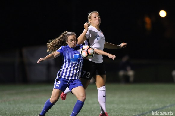 Boston Breakers defender Allysha Chapman (2) looks to shield Sky Blue FC midfielder Madison Tiernan (73) from the ball