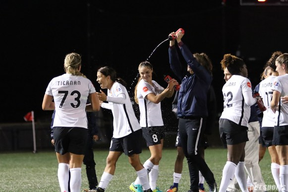 Sky Blue FC forward Sam Kerr (20) gets doused with water post-game after breaking the NWSL single season scoring record, scoring her 17th goal of the season against the Boston Breakers