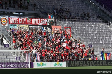The Rose City Riveters made the journey from Portland to support their team, the Portland Thorns FC.