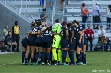 The North Carolina Courage huddle before the start of the 2017 NWSL Championship game