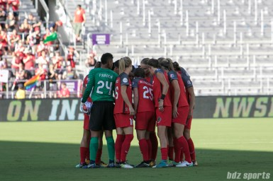 The Portland Thorns FC starting XI huddle before the start of the game