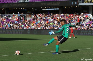 Portland Thorns FC goalkeeper Adrianna Franch (24) takes a goal kick