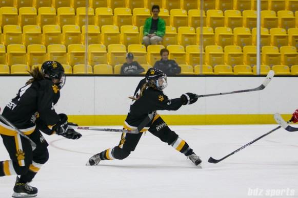 Boston Pride defender Alexandra Bender (5) follows through a shot on goal